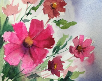 Pink Daisy- Floral Original Watercolor painting by SriWatercolors 6 x 6 in