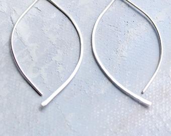 Silver Open Hoop Earrings - Open Almond Hoops (MEDIUM)- minimalist jewelry, silver earrings, thin hoop earrings, leaf earring