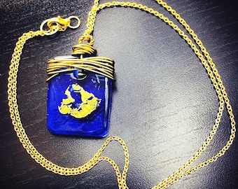 Cobalt Skies Necklace (0037N) - Sapphire Pendant, Blue Jewelry, Glass Pendant, Gold Chain Jewelry,  Royal Blue Necklace, Women's Jewelry