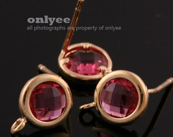 2pcs/1 pair-9mmX7mmGold plated faceted Round glass post earrings-Ruby(M355G-B)