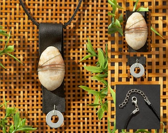Pendant Necklace of Leather, Stone, Wire + Washer