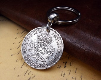 Genuine 1942 50% Silver UK Two Shillings Coin Keychain 76th Birthday Gift