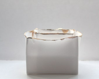 Pure white cube set made from English fine bone china and real gold rims - geometric decor
