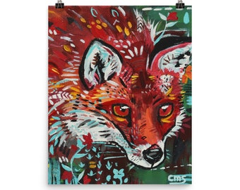 "Stare"" Print Red Fox Original Painting Art Poster Mint Orange Green Wall Art"