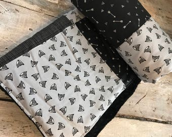 Baby blanket ,grey and black foxes, black  minky on the back