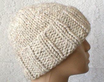 Watch cap, brimmed beanie hat, wheat tweed, toque, winter hat, knit hat, beanie hat, mens womens hat, chunky knit hat, longshoreman hat, V4