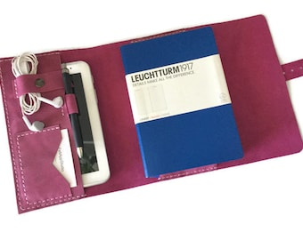 Leather Wraparound A5 Journal Cover, Trifold Notebook Cover, Leather A5 Folder, Bullet Journal Cover, Fuchsia Italian Leather