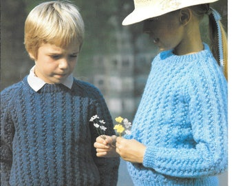 Very nice PDF pattern for a childs bobble jumper / sweater to fit sizes 22 - 32 ins (58-81cm) double knit