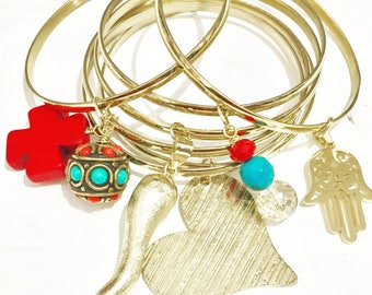 Semanario bangles red/turquoise