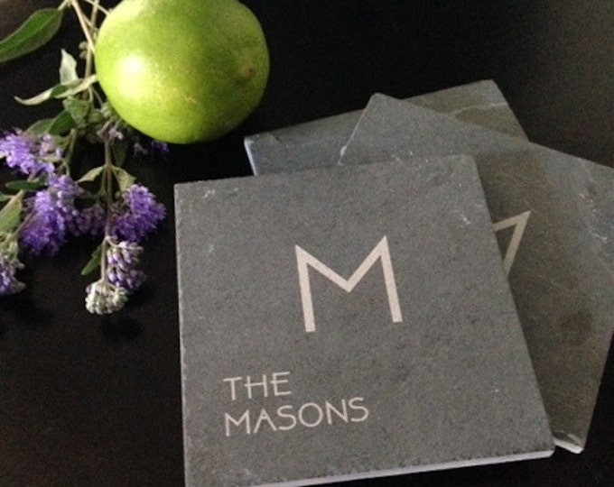 Personalized Slate Name and Initial Coasters