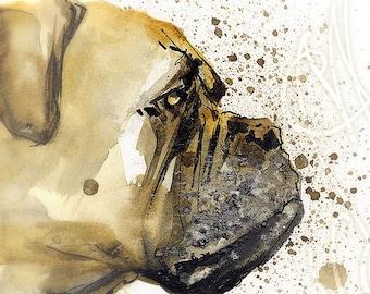 "Martinefa's Original watercolor and Ink Dog ""Boxer"""