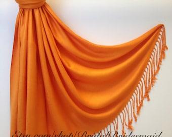Wedding Season SALE - ORANGE PASHMINA - orange shawl - bridal scarf - bridal shawl - bridesmaid gift - wedding gift - scarf - shawl - gift -