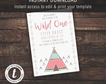 Wild One Girl 1st Birthday | Invitation Template, Boy/Kid Birthday Invite, Printable Invite, Instant Download, Easy to Edit