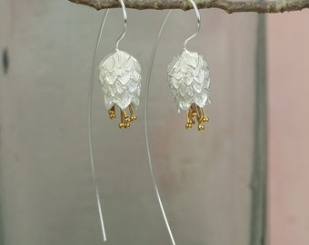 Silver Scottish Thistle Earrings with Gold Details / Sterling Silver Floral Jewelery