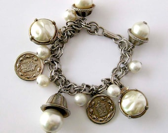 1960s Charm Bracelet / Faux Pearl and Coins Dangle Charm Bracelet / Link Chain / Costume Jewelry Bracelet