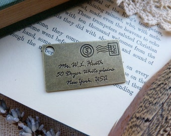 1x Letter Pendant, Antique Brass Necklace Pendant C551