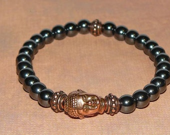 "Buddha, Hematite ""Focus"" and Copper Bracelet"