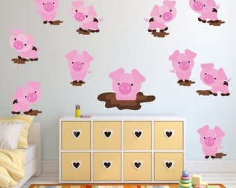 Pigs Wall Decal, Pig Wall Stickers REUSABLE FABRIC Wall Decals Non-toxic Fabric Wall Decals for Kids, SD45