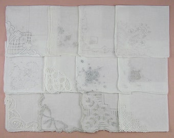 Vintage Hanky Lot,Wedding Hanky Lot,One Dozen White Wedding Vintage Hankies Handkerchiefs (Lot #85)