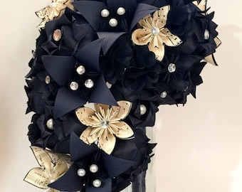 Cascading Bouquet of Roses- Handmade Bridal Bouquet, sheet music wedding, paper hydrangea, roses & lilies, your choice of color scheme