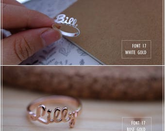 Custom Name Ring - Personalized Name Ring - Baby Name- Your name ring - New Mom Ring - Bridesmaid Jewelry-Birthday gift.#RF17