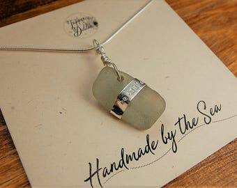 Sea Glass Necklace with hand stamped silver band// Ocean Glass Necklace//Beach Glass Necklace
