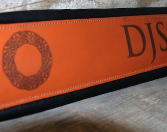 Signature Series Carving Leather Custom Engraved Guitar Strap, Personalized Guitar Strap