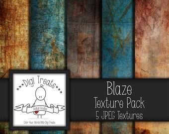 """5 Digital Textures, Blaze Textures, JPEG, Photography Textures, Scrapbook Paper, Backgrounds, 12""""x12"""" *Instant Download*"""