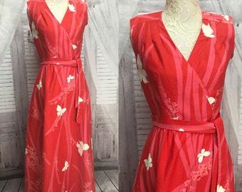 70s Liberty House by Malia Pink White Butterfly Hawaiian Maxi Dress