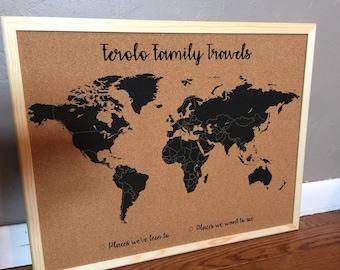 Corkboard map etsy customized world map corkboard gumiabroncs Gallery