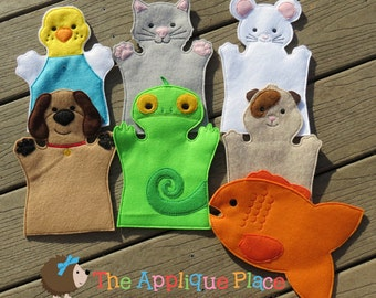 Pet Puppet Sets *For purchase as a SET or INDIVIDUALLY* Adult hand, Child hand, or Finger Puppet