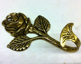 Solid Brass Flower with Leafs Wall Hanging Hook - Metal Rose Wall Hook -