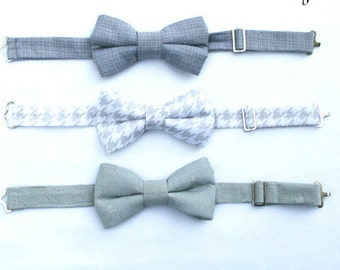 Gray Boys Bow Tie, Steel Gray Boys Bow Tie, Platinum Bow Ties, Grey and White Houndstooth Bow Tie, Toddler Bow Tie, Wedding Ring Bearer
