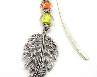 Bookmark jewelry silver leaf and Lampwork Glass Beads