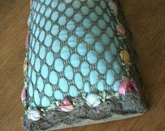 Breathtaking pincushion antique with silk ribbon work garland and gold metal mesh and trim