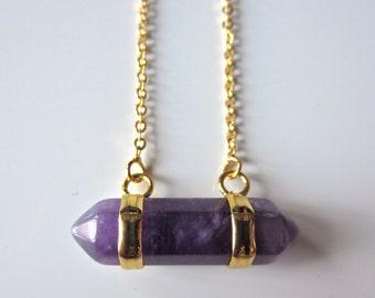 Semi Precious Double Point Amethyst Pendant on Gold Fine Chain Necklace