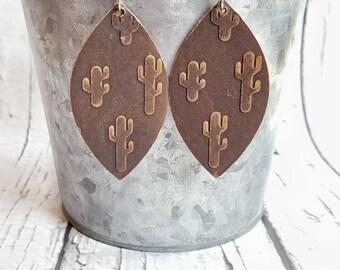 Leather Earrings, Lightweight Leather, Leaf Earrings, Textured Earrings, Cactus Earrings, Dangle Earrings, Drop Earrings