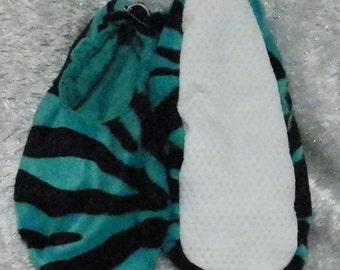 Teal Faux Fur Zebra Print Footies/Slippers