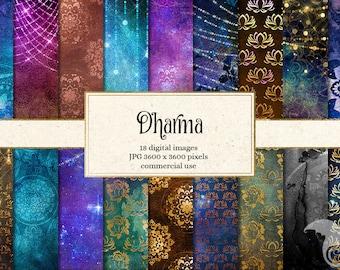 Dharma Digital Paper, cosmic night sky textures, Hindu and Buddhism dharma backgrounds, universe textures, digital printable scrapbook paper