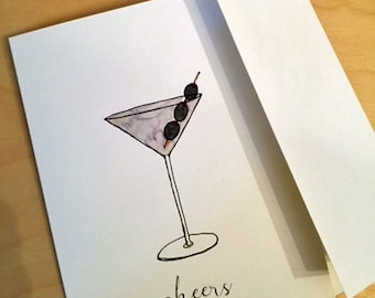 Cheers - martini cocktail greeting card
