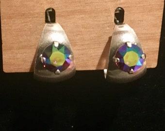 Wide Hoop Earrings - 8mm Swarovski Vitrail Crystal - Crystal Hoop Earrings - Crystal Hoop Earrings - Silver Hoop Earrings (ITEM # 7447)
