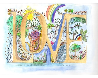LOVE Illuminated Word, Letters - original watercolor painting by melanie j cook