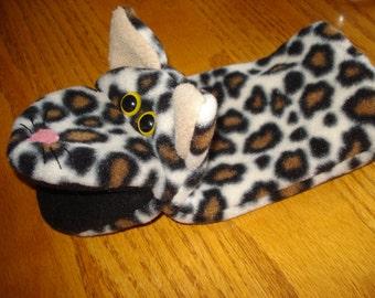 Leopard Cat Feline Hand Puppet fleece fabric
