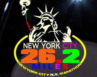 2017 any year New York City NYC Marathon Liberty Decal iPad,Luggage, ,Car Window