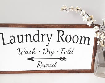 Laundry Room Sign |  Wood Sign | Rustic Wood sign | Wood framed sign | Farmhouse style | Wood Quote sign Modern Wall decor Wood wall hanging