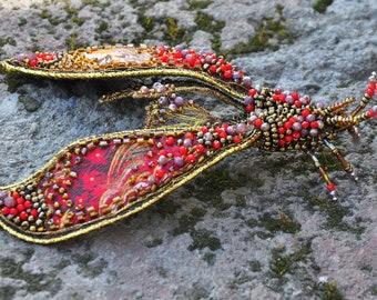 """Brooch """"Coral Moth"""""""