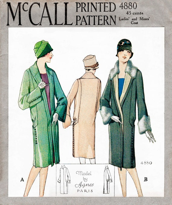 1920s 20s winter coat // vintage sewing pattern reproduction