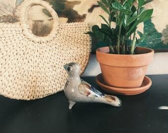 mexican folk art ceramic bird/pottery/art/birds/painting/handmade/made in mexico/ mexico art