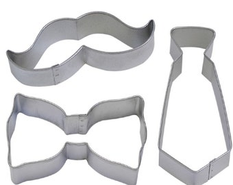3 Piece Tie & Moustache Mustache Bow Tie Cookie Cutter Set