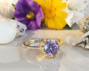 20% off- SALE!! Lavender Amethyst Ring - Gemstone Ring - Gold Ring - Bezel Ring - Round Ring - Purple Ring - Bridal Gift - Wedding Jewelry